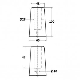 Conical Bumper 65D x 100H  Technical Drawing