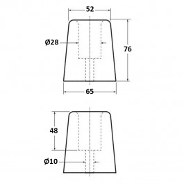 Conical Bumper 65D x 76H  Technical Drawing