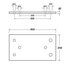Dock Bumper Simple Back Plate 450L x 250W x 15H Technical Drawing