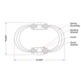 Marine Leaf Spring Mesh Mounts Technical Drawing