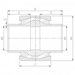 Polymax KSV 080 Anti-Vibration Ball Joint Technical Drawing