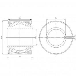Polymax KSV 110 Anti-Vibration Ball Joint Technical Drawing