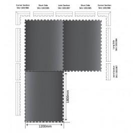 POWER Interlocking Mat Long Edge 1272mm x 120mm x 17mm Technical Drawing