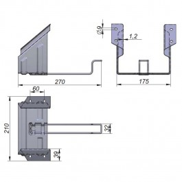 Small Wheel Chock Holder to suit Small Wheel Chock (1001711) Technical Drawing