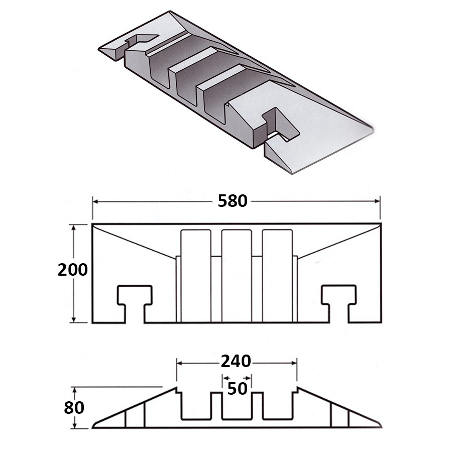 Cable Protector Female End 200L x 580W x 80H (3 Channels, 65mm x 65mm, 20 Tonnes)
